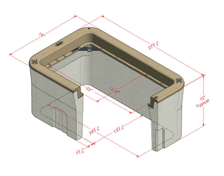 CHRISTY N30-BOX CONCRETE 12-1/2X22-IN OPENING 12-IN BODY